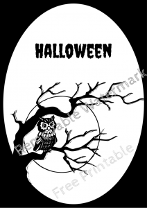 Halloween Frame 8 Owl Branch Two