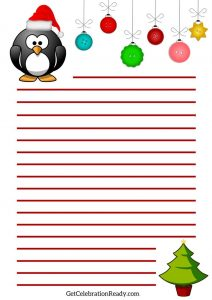 Christmas List Penguin Printable Red