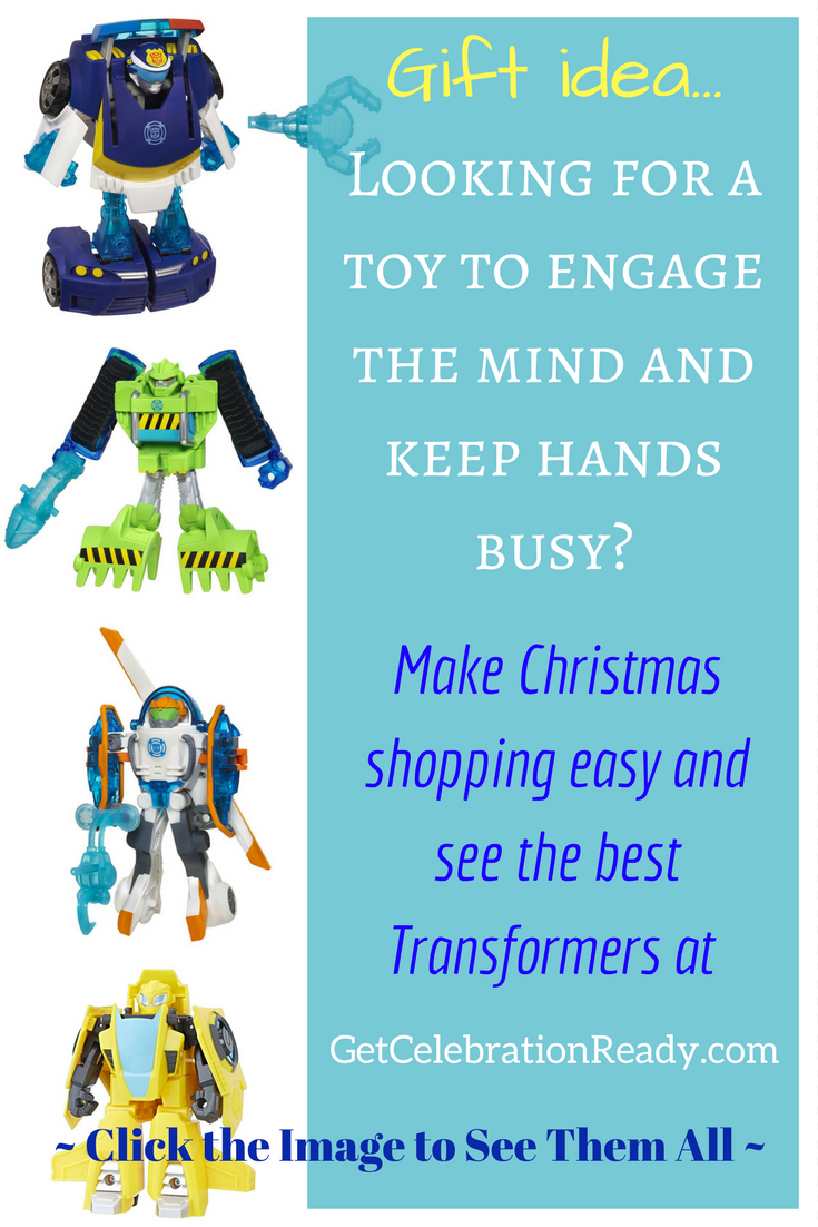 Transformers make great Christmas presents for young children. These action figures keep their hands busy and are easy to take on-the-go. Good stocking stuffers for kids.